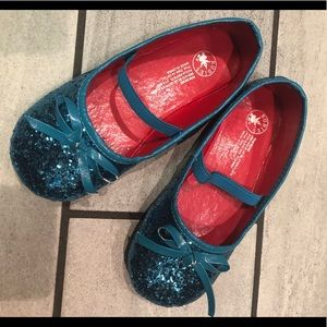 Aqua blue glitter flats